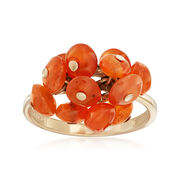 C. 2010 Vintage Orange Agate Freeform Ring in 10kt Yellow Gold. Size 5