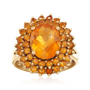 C. 1990 Vintage 4.60 ct. t.w. Citrine Ring in 14kt Yellow Gold. Size 7.75