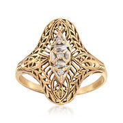 C. 1950 Vintage Filigree Ring With Diamond Accents in 10kt Yellow Gold. Size 8