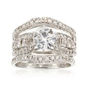 C. 1990 Vintage 2.29 ct. t.w. Diamond Bridal Set: Engagement and Two Wedding Rings in 14kt and 18kt White Gold. Size 5.5