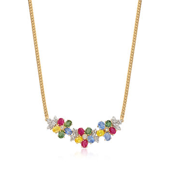 C. 1990 Vintage 5.70 ct. t.w. Multicolored Sapphire and .15 ct. t.w. Diamond Necklace in 14kt Yellow Gold. 18""