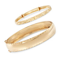 Mom & Me Bangle Bracelet Set of 2 in 14kt Yellow Gold. 8""