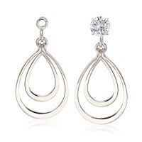 14kt White Gold Double Open Drop Earring Jackets