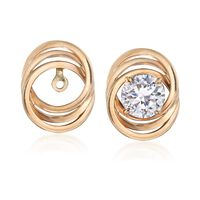 14kt Yellow Gold Three-Ring Earring Jackets