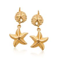 14kt Yellow Gold Sand Dollar and Starfish Drop Earrings