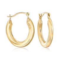 """14kt Yellow Gold Small Oval Hoop Earrings. 5/8"""""""