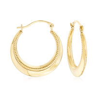 """14kt Yellow Gold Beaded and Polished Hoop Earrings. 7/8"""""""