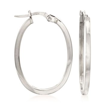 Roberto Coin Oval Hoops in 18-Karat White Gold