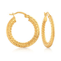22kt Yellow Gold Textured and Polished Hoop Earrings. 7/8""