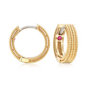"""Roberto Coin """"Symphony"""" Barocco Hoop Earrings in 18kt Yellow Gold. 1/2"""""""