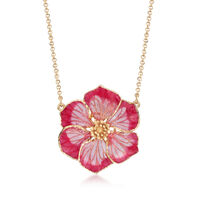 Italian Pink Enamel and 18kt Yellow Gold Flower Necklace. 16""