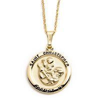 """14kt Yellow Gold Saint Christopher Medal Pendant Necklace. 18"""""""