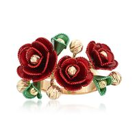 Italian 14kt Multicolored Gold Flower Ring. Size 8