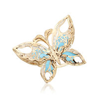 Italian 14kt Yellow Gold Butterfly Ring With Blue and White Enamel. Size 8