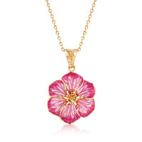 Italian Pink Enamel Flower Pendant Necklace in 18kt Yellow Gold. 18""
