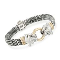 """Sterling Silver and Bonded Gold Woven Panther Bracelet. 7.25"""""""
