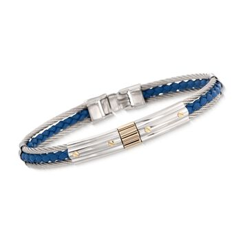 """ALOR Men's Stainless Steel Cable and Blue Leather Bracelet With 18kt Gold. 8"""""""