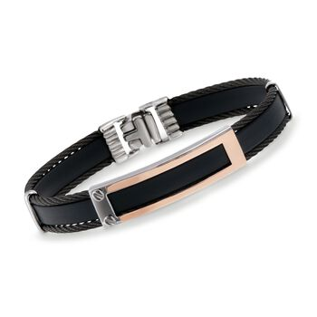 ALOR Men's Black Rubber Bracelet in Stainless Steel and 18-Karat Rose Gold. 7.75""