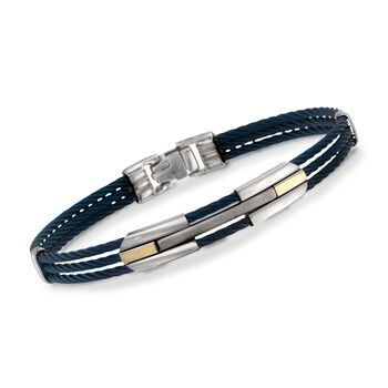 """ALOR Men's Blue Cable Bracelet in Stainless Steel and 18-Karat Yellow Gold. 7.75"""""""