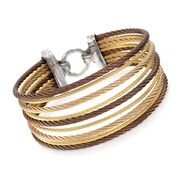 ALOR Classique Tri-Tone Stainless Steel Multi-Cable Bracelet With 18-Karat Yellow Gold. 7""