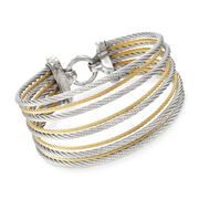 ALOR Classique Two-Tone Stainless Steel Multi-Cable Bracelet With 18-Karat Yellow Gold. 7""