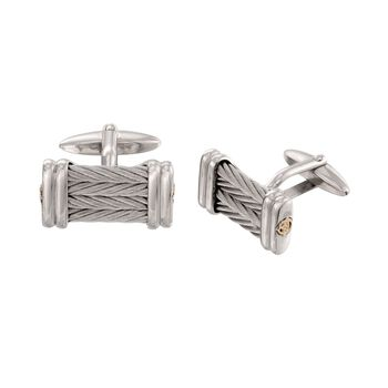 ALOR Cable Cufflinks in Stainless Steel and 18-Karat Yellow Gold