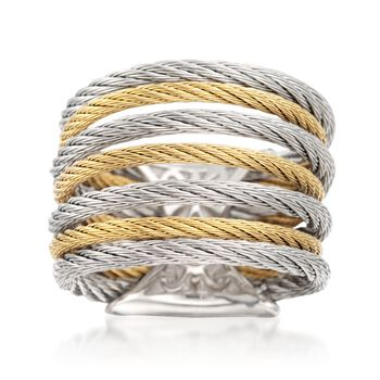 ALOR Classique Two-Tone Stainless Steel Multi-Cable Ring With 18-Karat Yellow Gold. Size 7