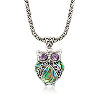 Black Abalone Shell and .40 ct. t.w. Amethyst Owl Pendant Necklace With Ster..