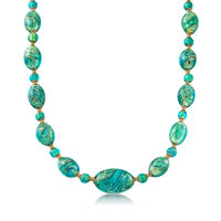 Italian Green Murano Bead Necklace in 18kt Yellow Gold Over Sterling Silver...