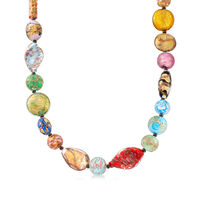 Italian Multicolored Murano Glass Bead Necklace With 18kt Gold Over Sterling..