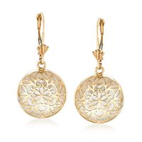Mother-Of-Pearl Overlay Earrings in 14kt Yellow Gold