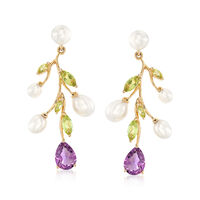 4-6mm Cultured Pearl Tree Branch Earrings With 1.80 ct. t.w. Amethyst and 1...