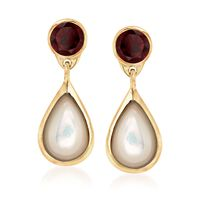 Mother-Of-Pearl and 4.00 ct. t.w. Garnet Drop Earrings in 18kt Yellow Gold O..