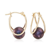 8-9mm Black Cultured Pearl Double Hoop Earrings in 14kt Gold. 3/4""