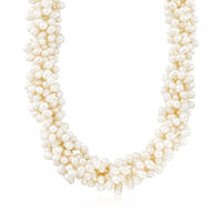 """5-6mm Cultured Pearl Torsade Necklace With Sterling Silver. 18"""""""