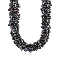 """5-6mm Black Cultured Pearl Torsade Necklace With Sterling Silver. 18"""""""
