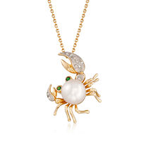 8-8.5mm Cultured Pearl Crab Pendant Necklace With Tsavorite and Diamond Acce..