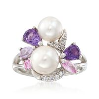 6.5-8mm Cultured Pearl and 1.19 ct. t.w. Multi-Stone Cluster Ring in Sterlin..
