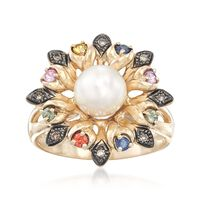 7-7.5mm Cultured Pearl and .27 ct. t.w. Multicolored Sapphire Flower Ring Wi..