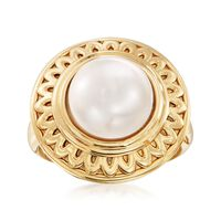 10.5-11 mm Cultured Button Pearl Ring in 14kt Yellow Gold. Size 9