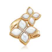 "Roberto Coin ""Venetian Princess"" Mother-Of-Pearl Bypass Ring With Diamond Accents in 18kt Gold"