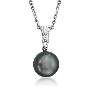 Mikimoto Black Cultured South Sea Pearl and Diamond Necklace in 18-Karat White Gold. Pendant