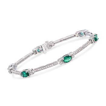 3.00 Carat Total Weight Emerald and .65 Carat Total Weight Diamond Bracelet in 14-Karat White Gold. 7""