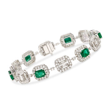 4.70 ct. t.w. Emerald and 4.41 ct. t.w. Diamond Bracelet in 18kt White Gold. 7""