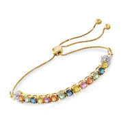3.30 Carat Total Weight Multicolored Sapphire and .10 Carat Total Weight Diamond Bolo Bracelet in 14-Karat Yellow Gold