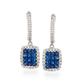 Gregg Ruth .81 Carat Total Weight Sapphire and .30 Carat Total Weight Diamond Drops in 18-Karat White Gold