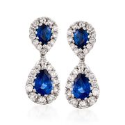Gregg Ruth 1.76 Carat Total Weight Sapphire and .80 Carat Total Weight Diamond Drops in 18-Karat White Gold