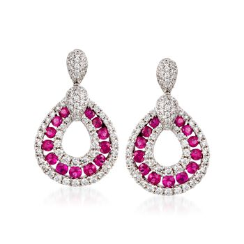Gregg Ruth .70 Carat Total Weight Ruby and .70 Carat Total Weight Diamond Teardrop Earrings in 18-Karat White Gold