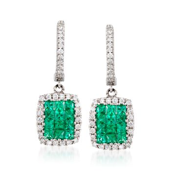 Gregg Ruth .60 Carat Total Weight Emerald and .25 Carat Total Weight Diamond Earrings in 18-Karat White Gold