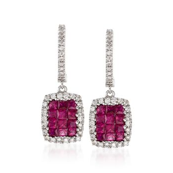 Gregg Ruth .88 ct. t.w. Ruby and .27 ct. t.w. Diamond Earrings in 18kt White Gold